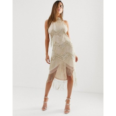 エイソス レディース ワンピース トップス ASOS DESIGN midi embellished halter neck bodycon dress with chevron embellishment and fringe hem Gold