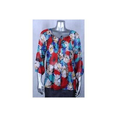 チャータークラブ ブラウス シャツ トップス Charter Club マルチ Polyester Petite フローラル Pleat Blouse サイズ PM 64LAFO