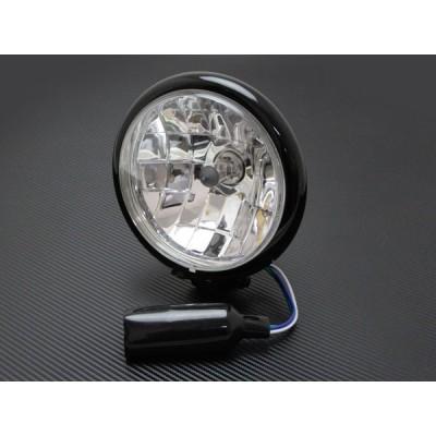 ヘッドライト 5-3/4インチ 5.75インチ ベイツタイプ マルチリフレクターレンズ ブラックハウジング クリアレンズ SR400 W400 W650 W800 カフェレーサー
