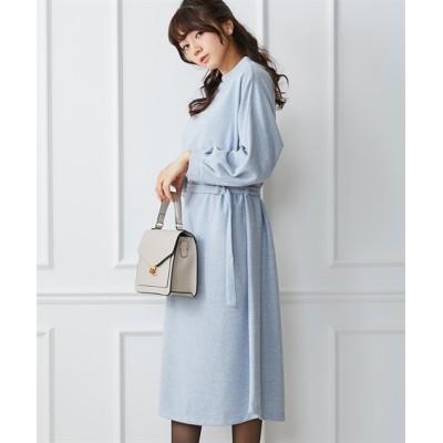 ウエストマークですっきり見せ!ツイード調カットソー素材ワンピース (ワンピース)Dress
