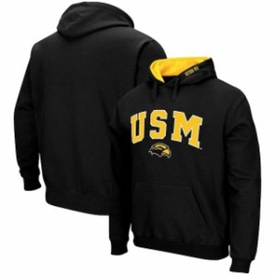 Colosseum コロセウム スポーツ用品  Colosseum Southern Miss Golden Eagles Black Arch & Logo Tackle Twill Pullover Hood
