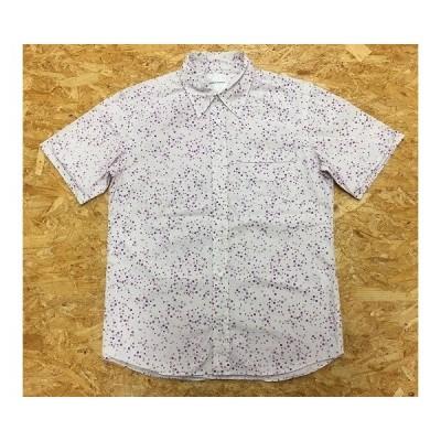【日本製】 BOYCOTT ボイコット サイズ2 メンズ シャツ バブル系のドット柄 胸ポケット 半袖 レギュラーカラー 綿100% パープル 紫×薄紫