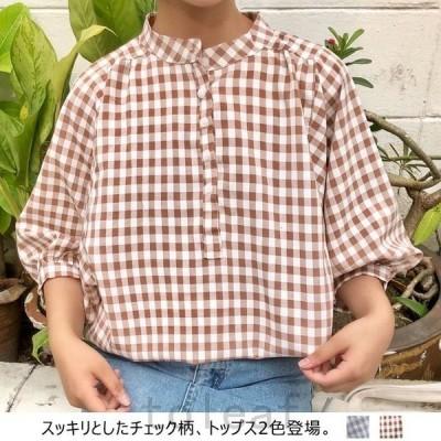 ブラウスレディース7分袖チェック柄パフ袖バルーン袖シャツ可愛いゆったりトップスオシャレ春夏