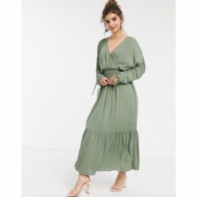 エイソス ASOS DESIGN レディース ワンピース ラップドレス マキシ丈 wrap front maxi dress with elasticated waist in crinkle in khak