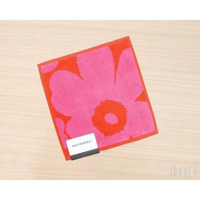 マリメッコ ウニッコ ミニタオル 25×25cm ピンク/レッド marimekko UNIKKO [ネコポス対応可(3枚まで)]