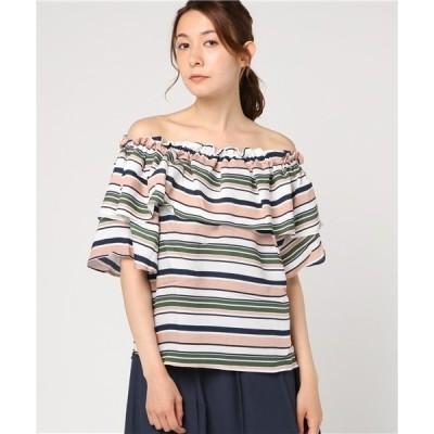 tシャツ Tシャツ she mo shelly 2wayオフショルダーラッフルスリーブマルチボーダートップス