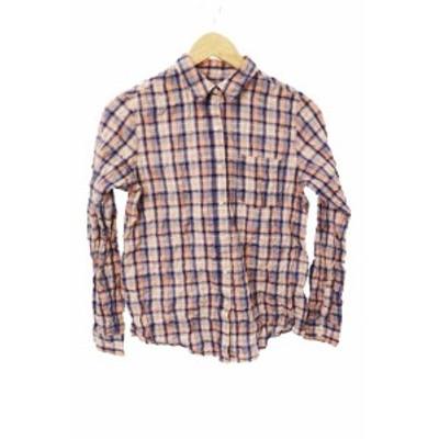 【中古】ユナイテッドアローズ green label relaxing シャツ シャンブレー チェック 長袖 38 青 オレンジ ブルー レディース