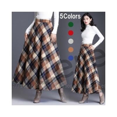 ロングスカート ロング丈 チェック 冬スカート ハイウエスト フレア あったかい チェック柄 おしゃれ カジュアル スカート 大きいサイズ
