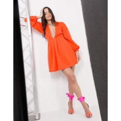 エイソス レディース ワンピース トップス ASOS DESIGN skater mini dress with deep plunge and puff sleeve in red Red