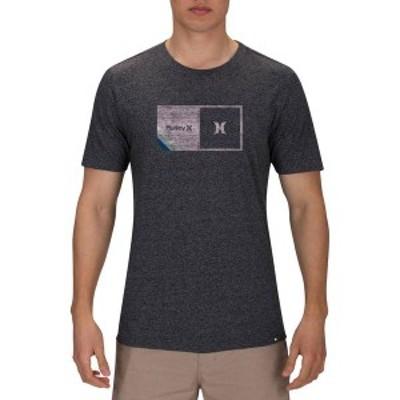 ハーレー メンズ シャツ トップス Hurley Men's Halfer Stripe Texture T-shirt Black Heather