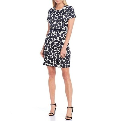ジュリーブラウン レディース ワンピース トップス Sprinkle Dot Print With Faux Patent Leather Belt Dress