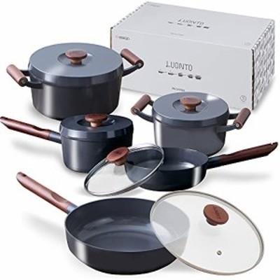 【送料無料】アイリスオーヤマ 深型フライパン 無加水鍋 IH /ガス火対応 「ルオント」 フライパン 鍋 10点 セット ダークグレー LUO-SE10