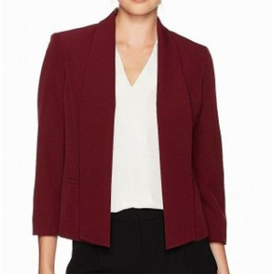 Sangria サングリア ファッション 衣類 Kasper NEW Sangria Red Womens Size 14 Shawl-Collar Open-Front Jacket