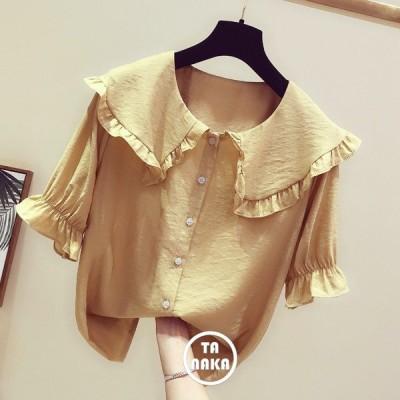 ブラウス シフォンシャツ 半袖 春夏ブラウス レディースシャツ ゆったり リゾートブラウス 4色 無地シャツ  S M L XL カジュアル 韓国風