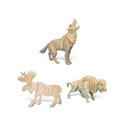 Puzzledオオカミ、ムースとBuffalo 3dパズル木製Constructionキット