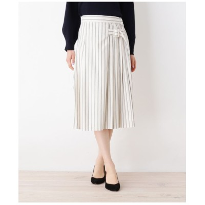 【洗える】サイドプリーツストライプスカート