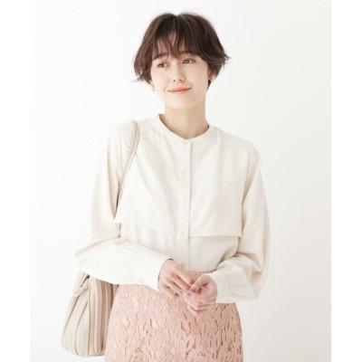 AG by aquagirl/エージー バイ アクアガール スタンドカラーサテンシャツ オフホワイト(003) 38(M)