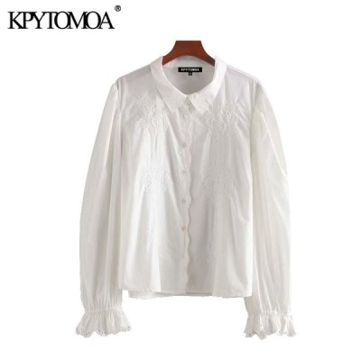 Women 2020 Sweet Fashion Embroidery Ruffled Blouses Vintage Lapel Collar Long Sleeve Female Shirts Blusas Chic Tops