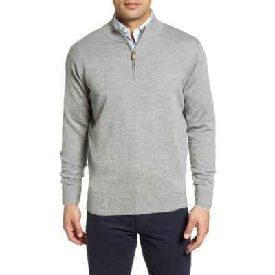 ピーター・ミラー パーカー・スウェットシャツ アウター メンズ Cashmere & Silk Quarter Zip Pullover British Grey
