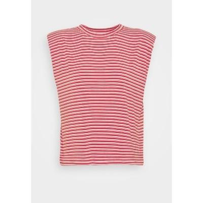ナフ ナフ Tシャツ レディース トップス EPAULETTE RAYE - Print T-shirt - rouge/ecru