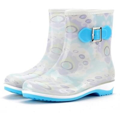 [フェニックス ショップ] 可愛い レインブーツ ロング丈 レディース 長靴 歩きやすい おしゃれ 梅雨対策 滑り止め 大きいサイズ (25.5cm,
