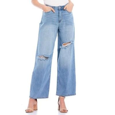 ジービー レディース デニムパンツ ボトムス High Rise Destructed Wide Leg Denim Jeans