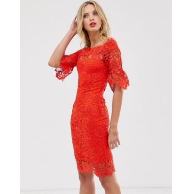 ペーパー ドールズ Paper Dolls レディース ワンピース ワンピース・ドレス off shoulder crochet dress with frill sleeve Red