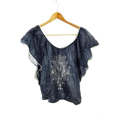 【中古】スターメラ STAR MELA カットソー 半袖 刺繍 S 紺 ネイビー /MO レディース 【ベクトル 古着】