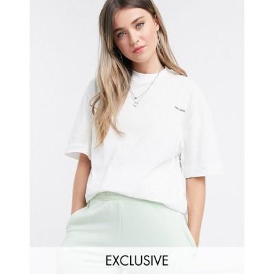 コリュージョン レディース Tシャツ トップス COLLUSION Unisex t-shirt with text print in ecru Cream