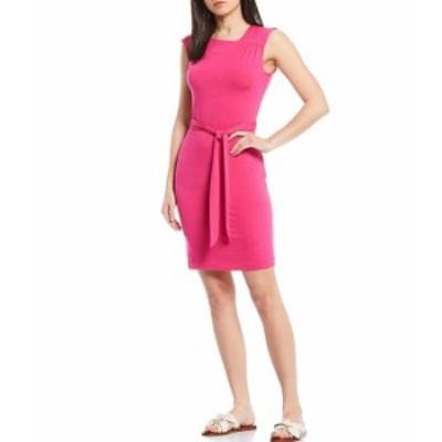 カルバンクライン レディース ワンピース トップス Sleeveless Asymmetrical Neck Belted Sheath Dress Hibiscus