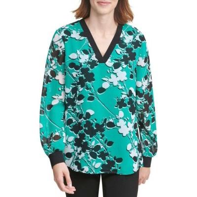 カルバンクライン Calvin Klein レディース ブラウス・シャツ Vネック トップス Printed V-Neck Blouse with Trim Jungle Green/Black/White