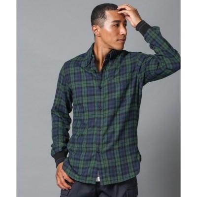 シャツ ブラウス BLACK WATCH RIBBED SHIRT:ブラックウォッチ チェック柄 リブ袖カジュアルシャツ
