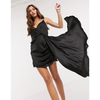 アイソウイットファースト I Saw It First レディース ワンピース ミニ丈 ワンピース・ドレス Asymmetric Satin Drape Mini Dress ブラック