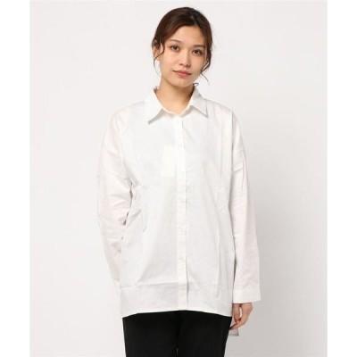 シャツ ブラウス 綿ブロードバックリボンスリットシャツ