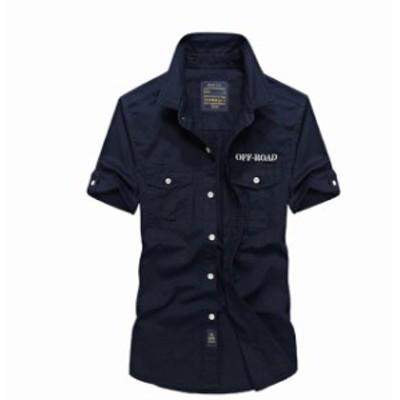 シャツ メンズ アウター ミリタリー 半袖 ボタン付き 上着 おしゃれ カラフル コットン カジュアルミリタリー