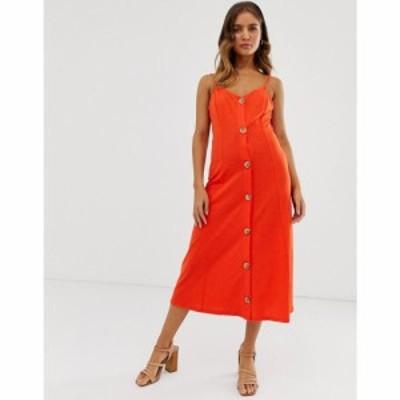 エイソス ASOS DESIGN レディース ワンピース キャミワンピ ワンピース・ドレス midi slubby cami dress with faux wood buttons in red