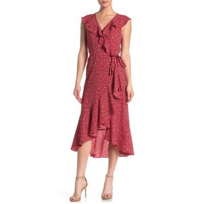 マックスタジオ レディース ワンピース トップス Patterned Ruffle Wrap Midi Dress REDBLUDW