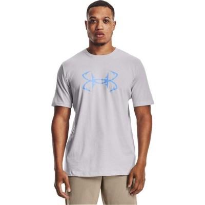 アンダーアーマー Under Armour メンズ Tシャツ ロゴTシャツ トップス Fish Hook Logo Tee Halo Gray/Carolina Blue