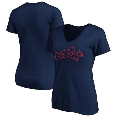 ファナティクス ブランデッド レディース Tシャツ トップス New England Patriots Fanatics Branded Women's Team Iconic Script State V-Neck T-Shirt