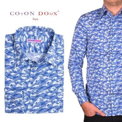 メンズシャツ 長袖 柄シャツ ブランド ブルー 青 波模様 ユーロスタイル 和柄 アートカジュアルシャツ m02ad1913wave