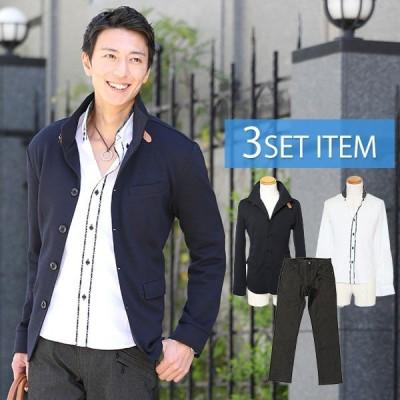 アウター メンズ ジャケット 紺ジャケット×チェックシャツ×黒パンツの3点コーデセット 191