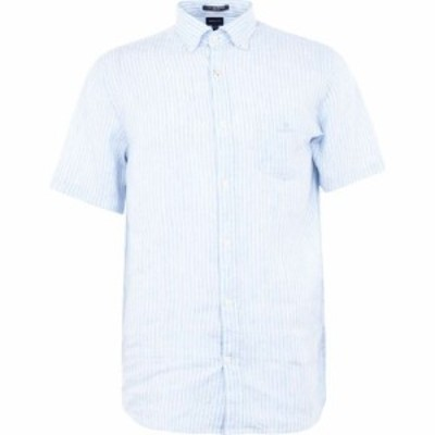 ガント Gant メンズ シャツ トップス Linen Stripe Shirt Pale Blue