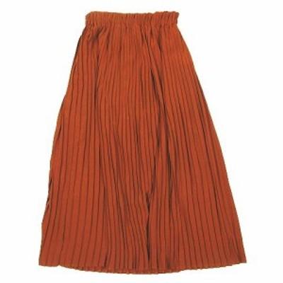 【中古】テチチ Te chichi プリーツスカート フレア ロング ゴムウエスト NSB-1504067 サイズF ブラウン レディース