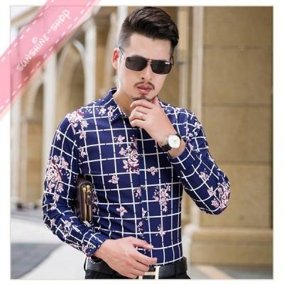 メンズ チェック 花柄シャツ トップス 長袖シャツ ワイシャツ フォーマルシャツ カジュアルシャツ 長袖 大きいサイズ