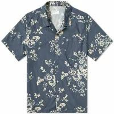 Universal Works メンズシャツ Universal Works Road Shirt Navy Flower Print