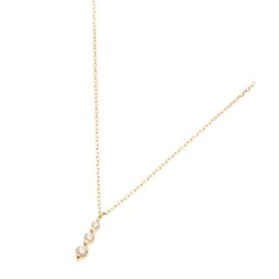 COCOSHNIK/ココシュニック K18ダイヤモンド 伏せ込みトリロジー ネックレス小 イエローゴールド(104) 40