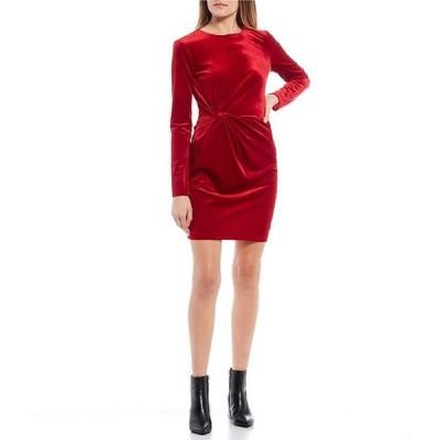 ビーダーリン レディース ワンピース トップス Long-Sleeve Knot-Side Velvet Sheath Dress