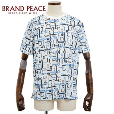 エルメス ラビリンス ホースビット 半袖Tシャツ ホワイト/ブルー コットン100% サイズM ブランドピース