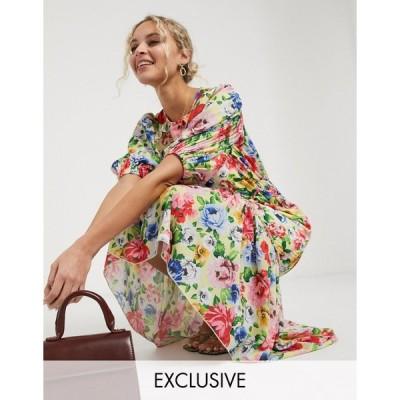 ツイストワンダー ミディドレス レディース Twisted Wunder midi tea dress in lemon floral エイソス ASOS マルチカラー
