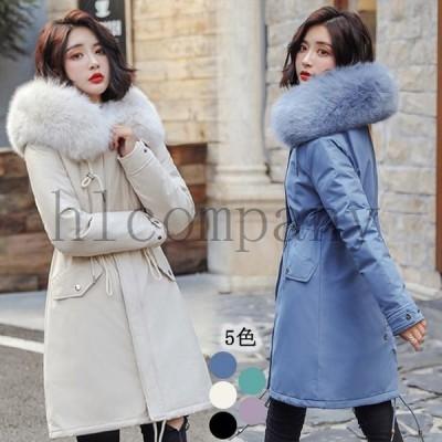 中綿コートレディースロング丈コート裏起毛フード付きダウンコート冬中綿入れファー襟暖かいジャケット大きいサイズ長袖アウター